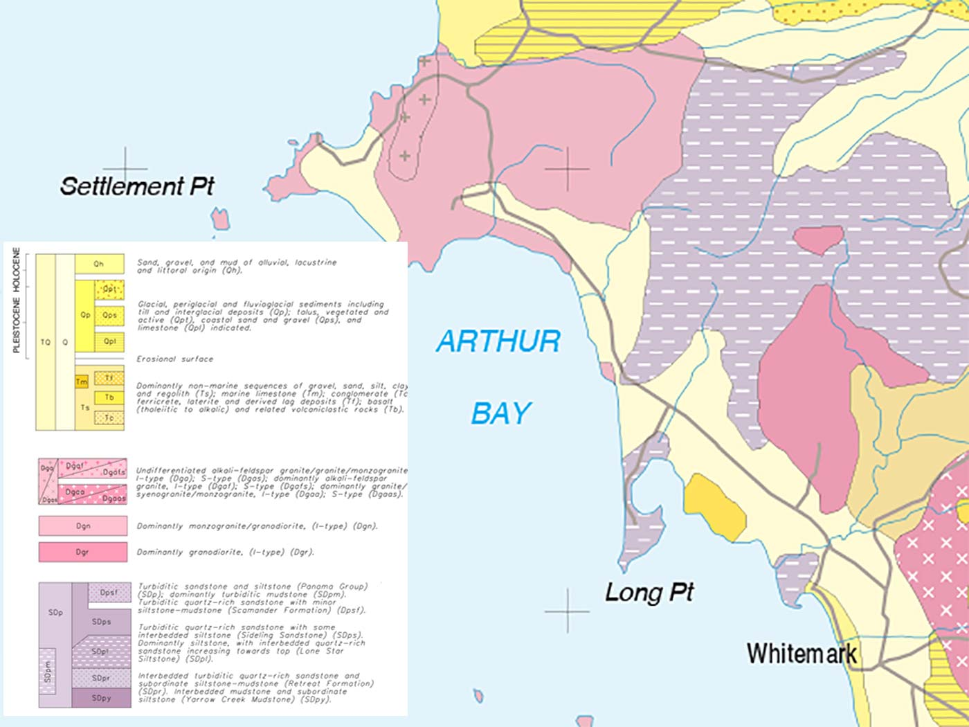 geological map detail of Allports Beach area