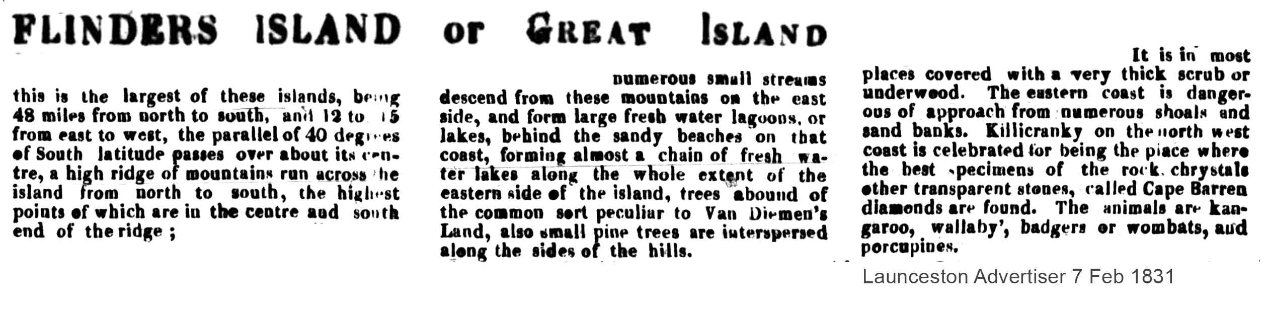 flinders island nespaper quote