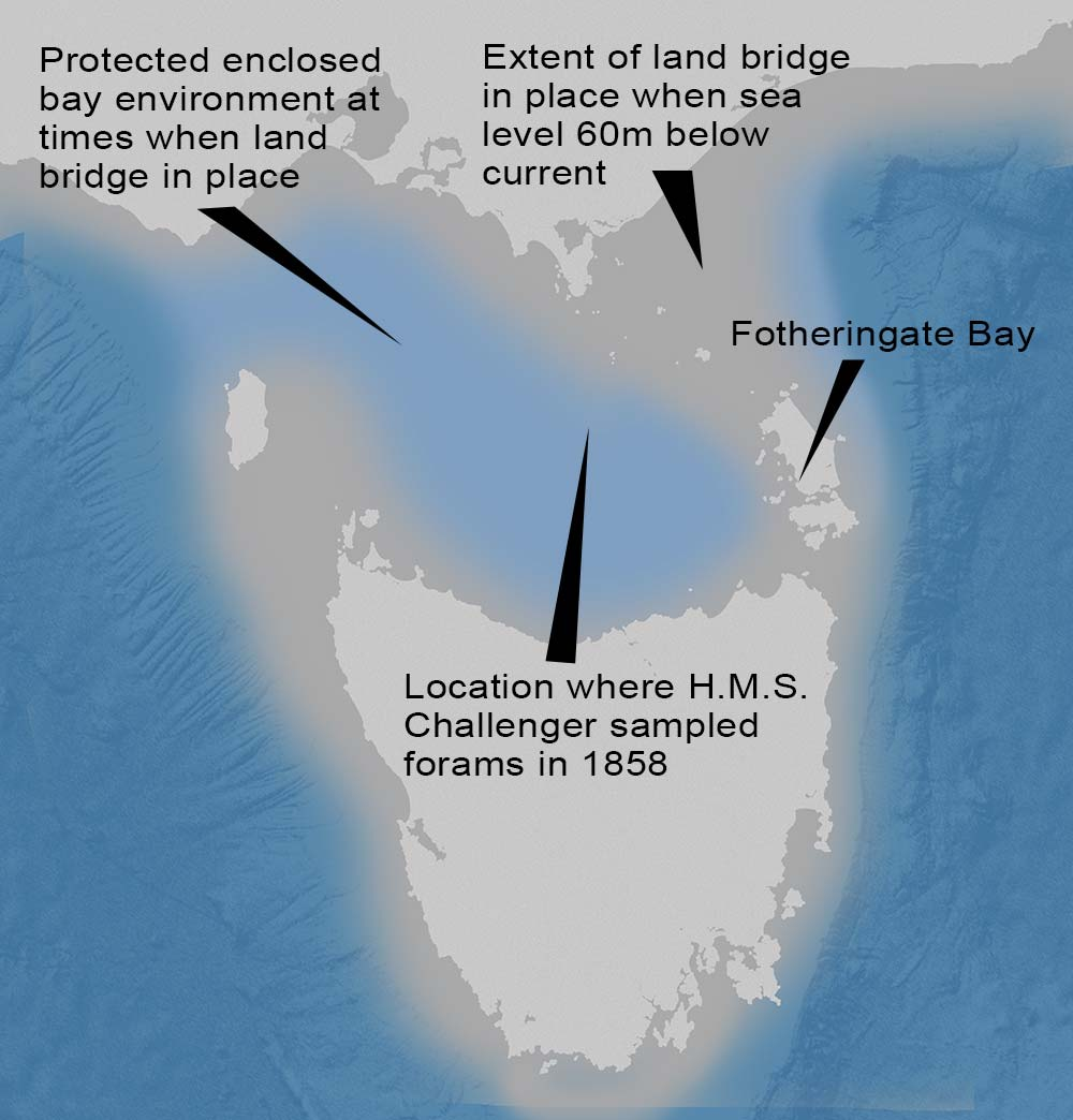 map of Bass Strait land bridge