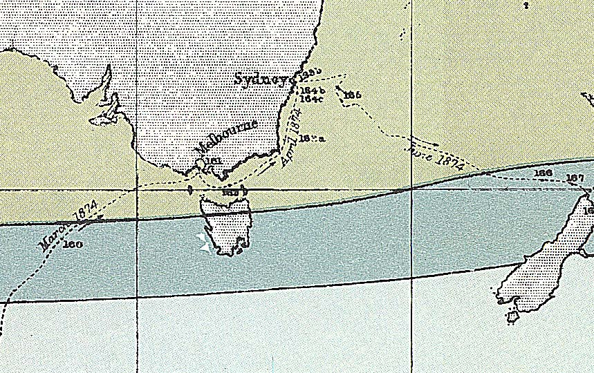 map section of HMS Challenger voyage
