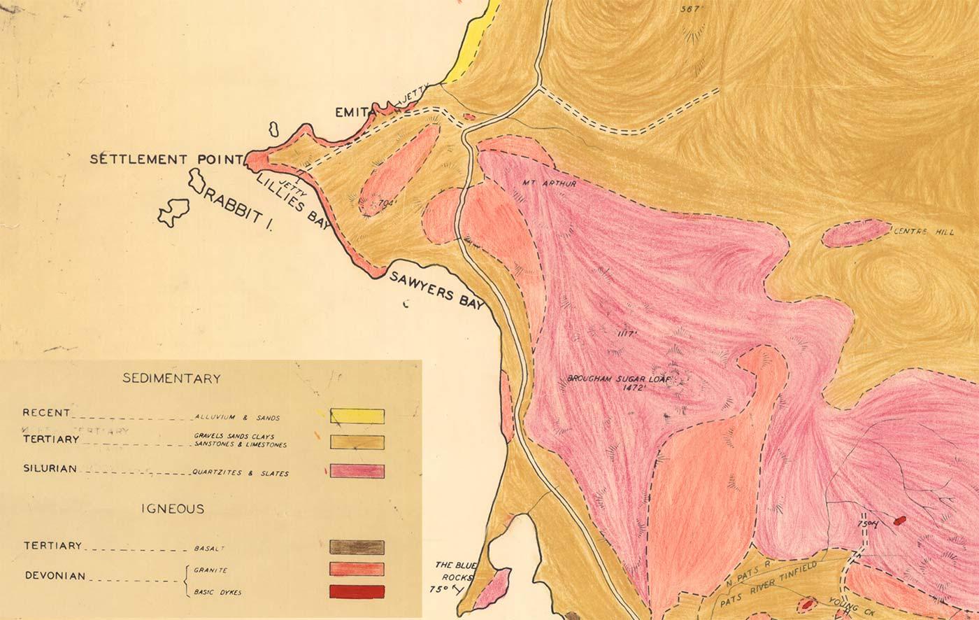 geological map detail of Settlement point area